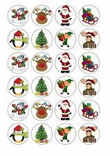 24 x CHRISTMAS Edible Cupcake Toppers Wafer Rice Paper CUTE XMAS CAKE DECORATION