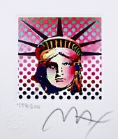 "Liberty Head II, Ltd Ed Lithograph (Mini 3.5"" x 3""), Peter Max - SIGNED with COA"