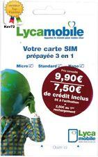 Carte sim prépayée lycamobile sans abonnement 7,50€ de crédit inclus