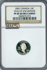 2001 CANADA SILVER 10 CENTS YEAR OF VOLUNTEERS NGC MAC PF-69 UCAM SPOTLESS .