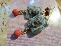 VtG Art Deco Egyptian Revival Turquoise Czech Glass Ruby Stones Pierced Earrings