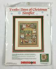 Vtg Dimensions 1989 Twelve Days of Christmas Sampler Counted Cross Stitch New