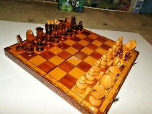 NICE WOOD CARVED CHESS SET WITH FOLDING BOX/BOARD