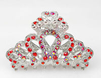 Metal Hair Claw Clip Silver Crystal Diamante Red Rhinestone Silver Hair Clip