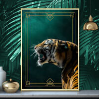 Tiger Painting Tropical Summer Deep Green Gold Fine Art Print Poster A4 A3 A2 A1