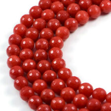 """10mm Red Agate Feceted Round  Gemstone Beads Strand 15.4"""" Jewellery Making Beads"""