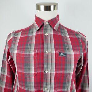 Polo Ralph Lauren Boys Cotton LS Button Down Red Gray Plaid Shirt Youth L 14/16