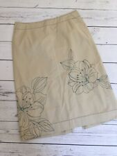 Next Skirt 12 Cotton Knee Length Floral Embroidered Beige And Green