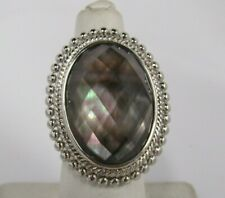 Honora Mother-of-Pearl Oval Faceted Doublet Sterling Ring  Size 5