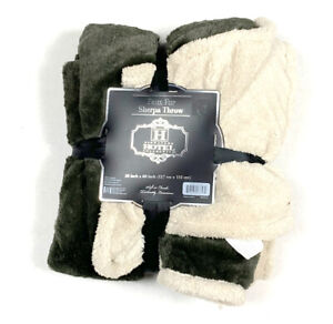 Hotel Collection New NIP Faux Sherpa Throw Blanket Cover Green & Cream Soft Luxe