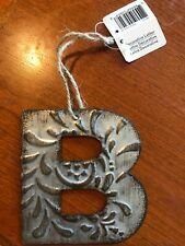 Metal Gray Embossed B Initial Monogram Decorative Letter Twine String Nwt