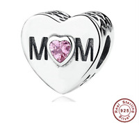Genuine S925 Sterling Silver Bracelet MOM Charm bead MOTHER HEART & Free pouch