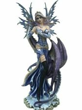 More details for large winter fairy and dragon companion sculpture statue mythical creatures gift