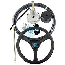 Marine Boat Steering Helm Kit Turbine Rotating Steering System 9FT Cable Wheel