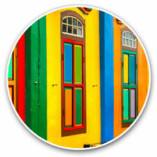 2 x Vinyl Stickers 25cm - Colorful House Architecture Cool Gift #14130