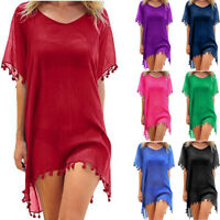 Women Beachwear Swimwear Tassel Bikini Cover Up Summer Kaftan Sarong Beach Dress