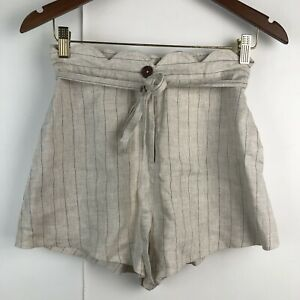 NWT Lulu's Moon River Small Linen Striped Shorts Scallop Waist Beige Willoughby