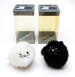 Vintage Dakin Silvia & Silvan White and Black Wind-up Cat Kitten Toys #01-0004