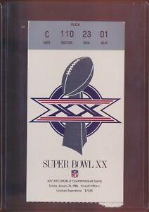 Super Bowl Ticket XX 20 - 1986 - Chicago 46 New England 10 (Seat # 01) Near Mint