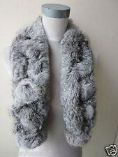 Fur Scarf Winter Warm Real Whole Rabbit Fur Neckerchief Handmade Natural Gray