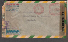 Brazil 1944 WWII multiple censors meter cover Rubino Rio to Kansas City MO