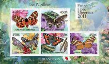 Butterflies IV Philanippon butterfly Comores 2011 m/s Mi. 2976-80 MNH #CM11104a
