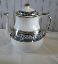 Vtg English Staffordshire Earthenware Black Multi Transferware Lustre Teapot