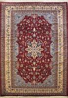 Rugstc 6x9 Pak Persian Red Area Rug, Hand-Knotted,Floral with Silk/Wool Pile