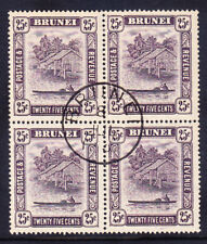 BRUNEI 1931 SG75 25c slate purple wmk Script CA block of 4 very fine used cat£52