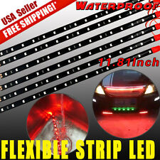 6x RED 15 LED 30cm Car Lighting Flexible Decorative Light Strip BULB Waterproof