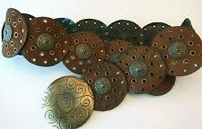 Vintage Faux Leather Wide Circles Belt Sz M Concho Big Brass Buckle Western BoHo