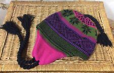 Moon Shadow Hat~Pink/Green/Black/Purple~Ear Flap~Winter~Lined~One Size~Tassels