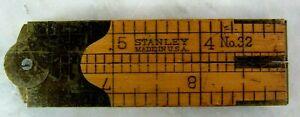 VINTAGE STANLEY NO 32 BOXWOOD POCKET FOLDING RULER WITH CALIPER