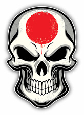 "Japan Flag Skull Car Bumper Sticker Decal 4"" x 5"""
