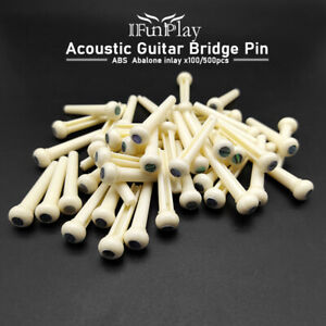 Acoustic Guitar Bridge Pins Nuts Abalone Shell 100pcs ABS Dot Inlay Black White