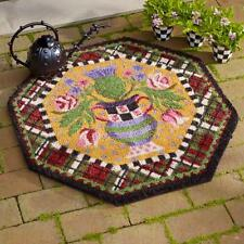Mackenzie Childs Torquay Thistle Courtly Check Welcome Mat Rug Carpet - NEW