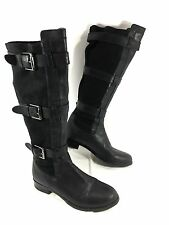 Cole Haan Avalon Knee High Boots 3 strap Belted Harnes Riding Boots Black Sz 7 B