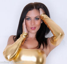 GOLD Metallic Shiny WET LOOK Gauntlets ARM WARMERS Gloves Party Lycra Club G106