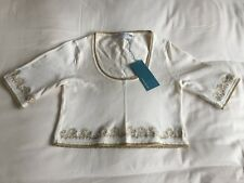 BNWT Karen Millen short sleeve jersey white crop top with gold embroidery size 1