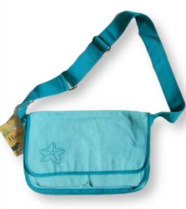 Hatley Girls Mermaids Messenger Bag Cross Body Aqua Blue Canvas Cotton Satchel