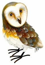 Barn Owl Garden Ornament HAND PAINTED! Figurine Statue Outdoors Patio Lawn Metal