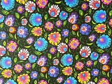 Black Folk Floral 100% Cotton Fabric 160cm wide, per half meter