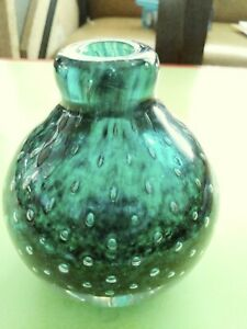 "VINTAGE ""MURANO"" GREEN ART GLASS (WITH CONTROLLED BUBBLES) SQUAT BUD VASE"