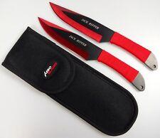 "2pc Red & Black 9"" Jack Ripper Throwing Knife Set w/ Sheath Dagger Kunai"