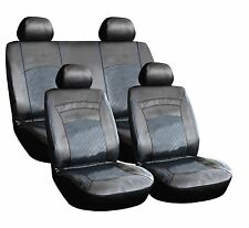 8 PIECE LEATHER LOOK PVC SEAT COVERS BLACK + BLUE STITCHING BMWBB