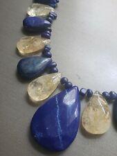 Jay King Desert Rose Trading Blue Lapis & Rutilated Quartz Sterling Necklace DRT