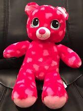 Build-A-Bear Bab Bear Red Pink Heart Paw Print Plush Stuffed Animal