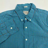 J.Crew Button Up Shirt Mens Medium Long Sleeve Blue Gray Gingham Slim Fit Cotton