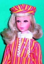 Vintage 1970 Francie Casey Twiggy Striped Mini Dress and Hat