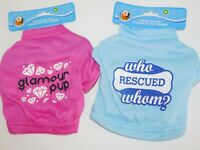 Puppy Dog T Shirts TWO Very Small Who Rescued Whom & Glamour Pup Size Medium